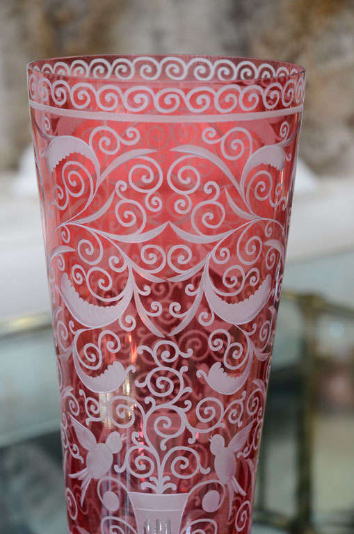 Czech Vase, Crystal, Baroque Style, Red Crystal, in Stock For Sale