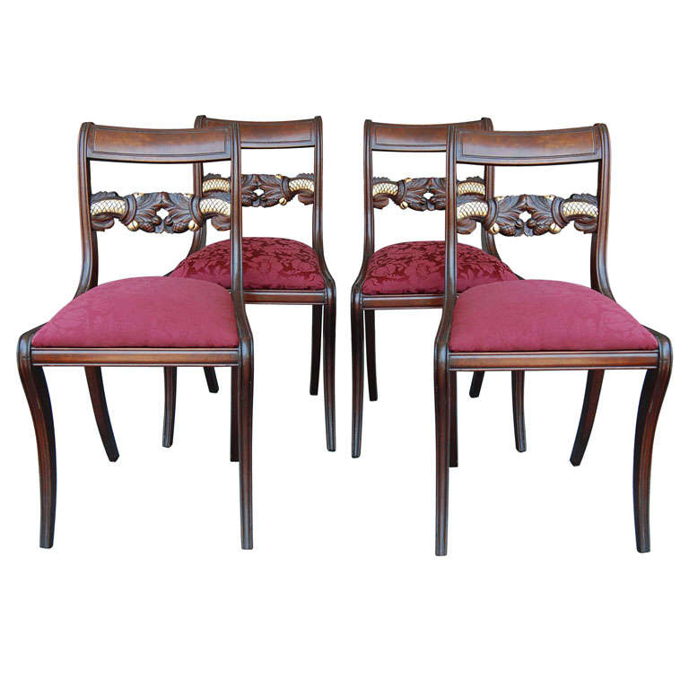 Set of  Four American Neoclassical Mahogany Sidechairs