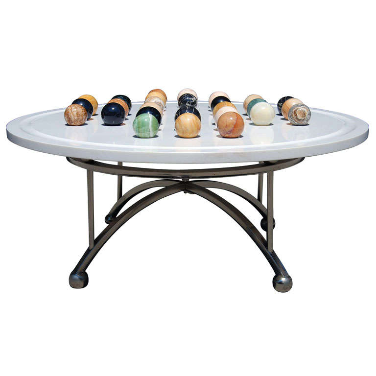 a vintage italian marble game table coffee table at 1stdibs. Black Bedroom Furniture Sets. Home Design Ideas