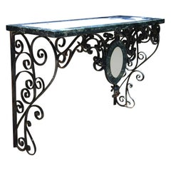 Wrought Iron Specimen Marble Topped Console Table