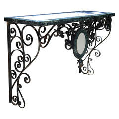 A Wrought Iron Specimen marble topped Console Table