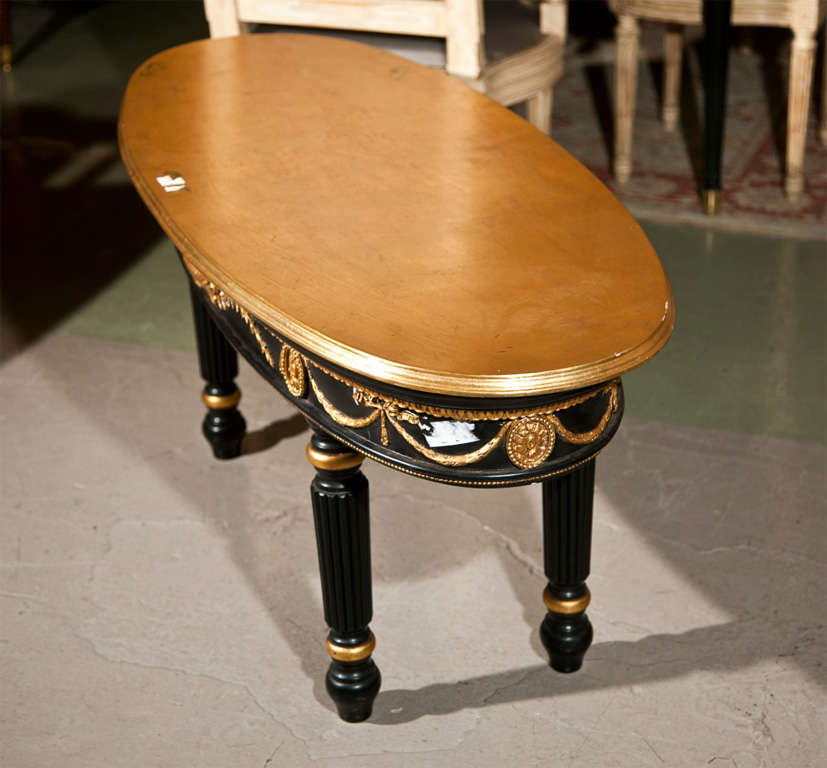 Oval Painted Coffee Table Attributed to Maison Jansen For Sale 2