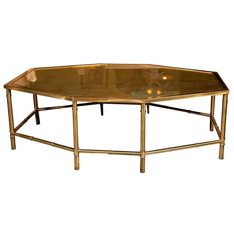 Faux bamboo style octagonal coffee table at 1stdibs for Octagon coffee table