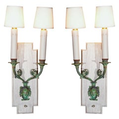 Pair of 1940s French Directoire Style Bronze Sconces