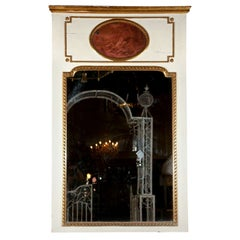 French Trumeau Mirror White Paint Decorated And Parcel Gilt With Child Painting