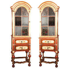 Pair of William & Mary Style Painted Cabinets