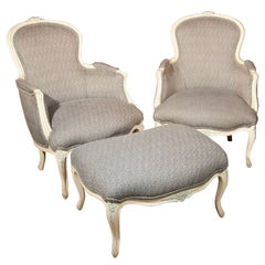 Three Piece French Duchesse Brisee Bergere Chair Set Two Chairs With Ottoman