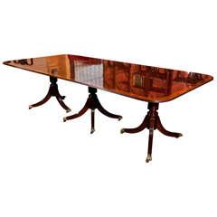 English Mahogany Triple Pedistal Dining Table