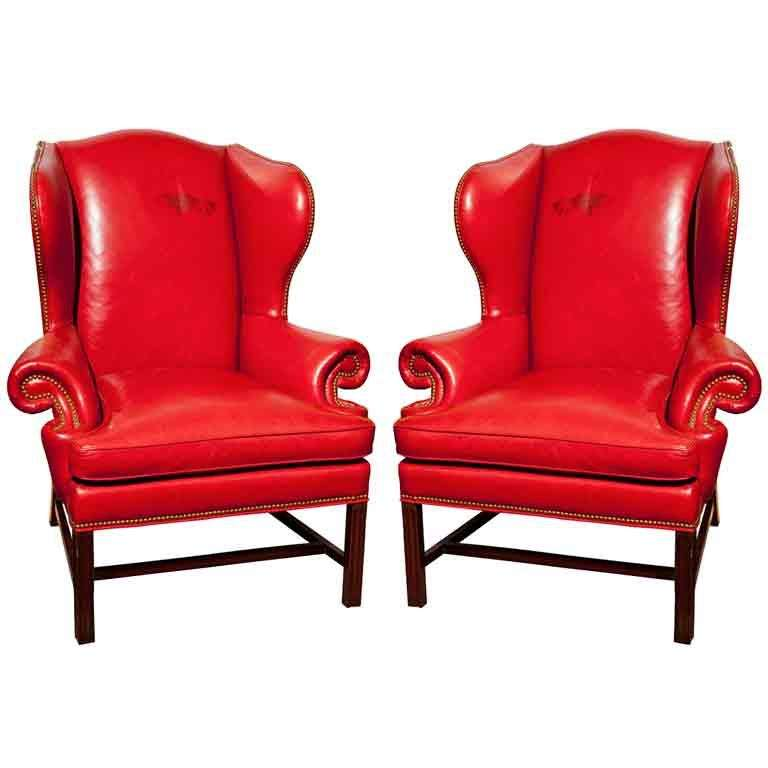 Pair Of Red Leather Wing Chairs At 1stdibs