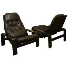 Pair of Bent Wood and Leather Reclining Chairs