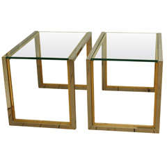 Pair of Chrome and Brass End Tables