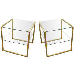 Pair of Brass and Chrome End Tables