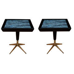 Pair of 1950'S Low Tables with Verre-Eglomise Tops