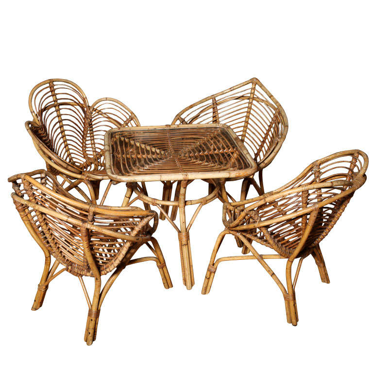 1950s Set Of Playing Card Motif Rattan Chairs And Card