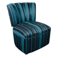 1940's Channel Tufted Slipper Chair with Button Seat Details