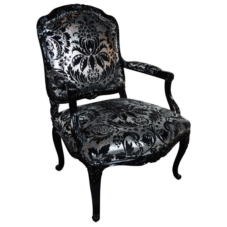 Hollywood Regency Louis XVI Style Armchair In High Gloss Black Lacquer.  Upholstered In Vintage Embossed