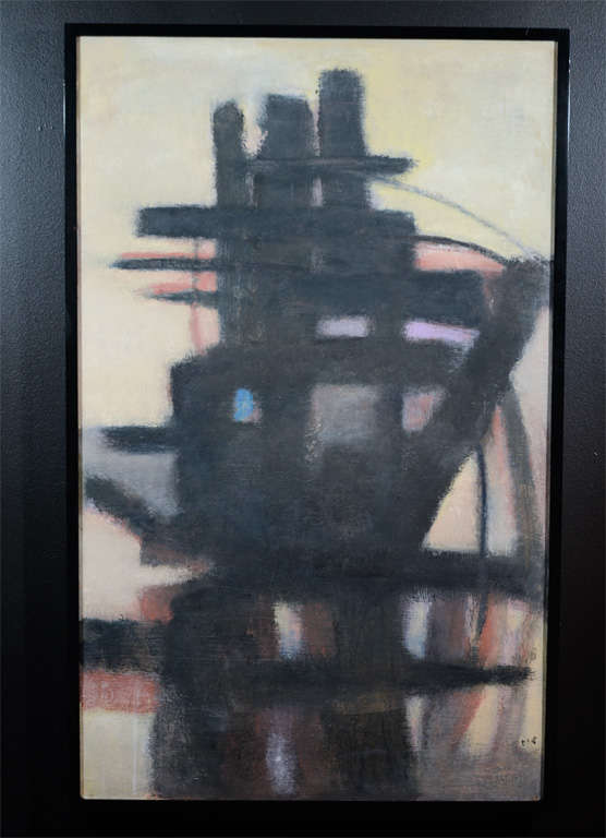 "Mid-Century Abstract Painting ""Linear Marine"" by Mary Humphreys Sloane 2"