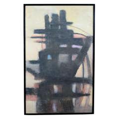 "Mid-Century Abstract Painting ""Linear Marine"" by Mary Humphreys Sloane"