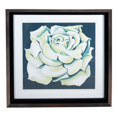 Vintage White Rose Limited Edition Lithograph by Lowell Nesbitt