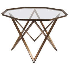 Vintage X Form Brass Base Glass Top Center or Side Table, circa 1965