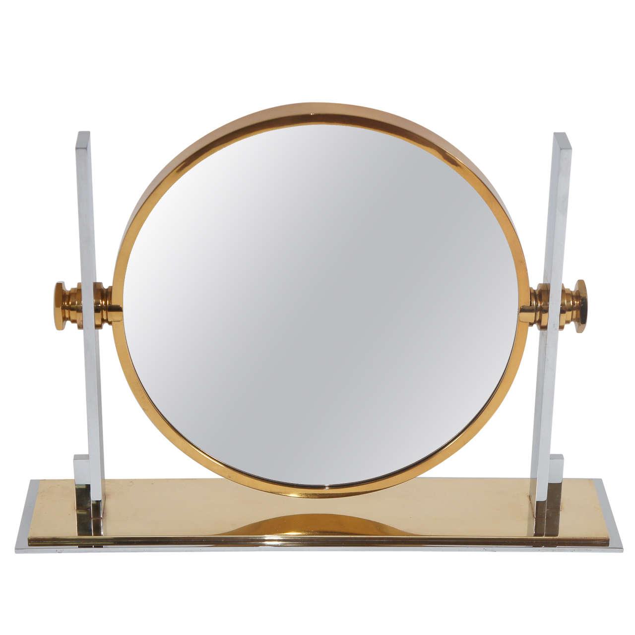 Large vintage table top vanity mirror by karl springer at 1stdibs large vintage table top vanity mirror by karl springer 1 geotapseo Image collections