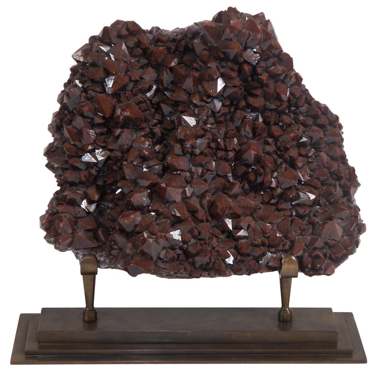 Large Red Cap Amethyst Hematite Specimen on Bronze Stand