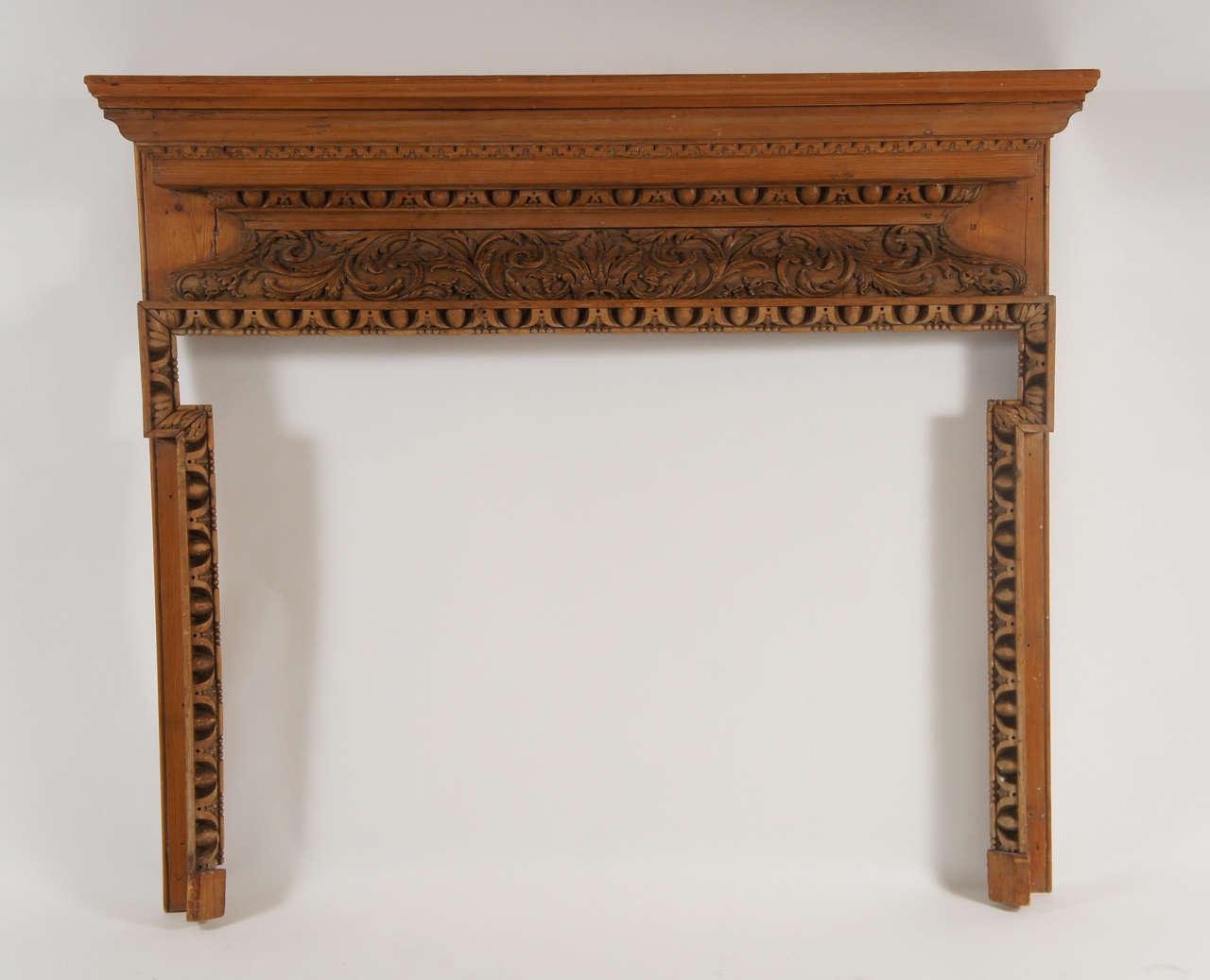 georgian carved pine and lime wood fireplace mantel england