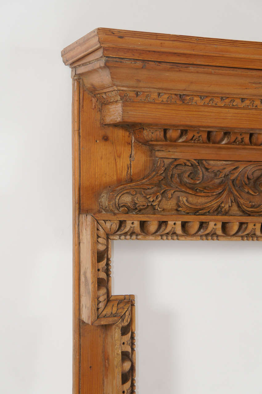 georgian carved pine and lime wood fireplace mantel england