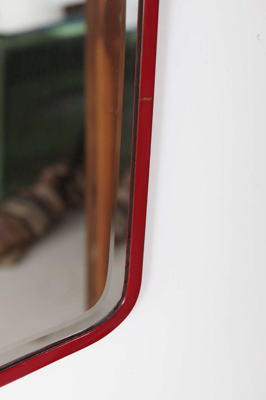 French Red Metal Oblong Wall Mirror At 1stdibs