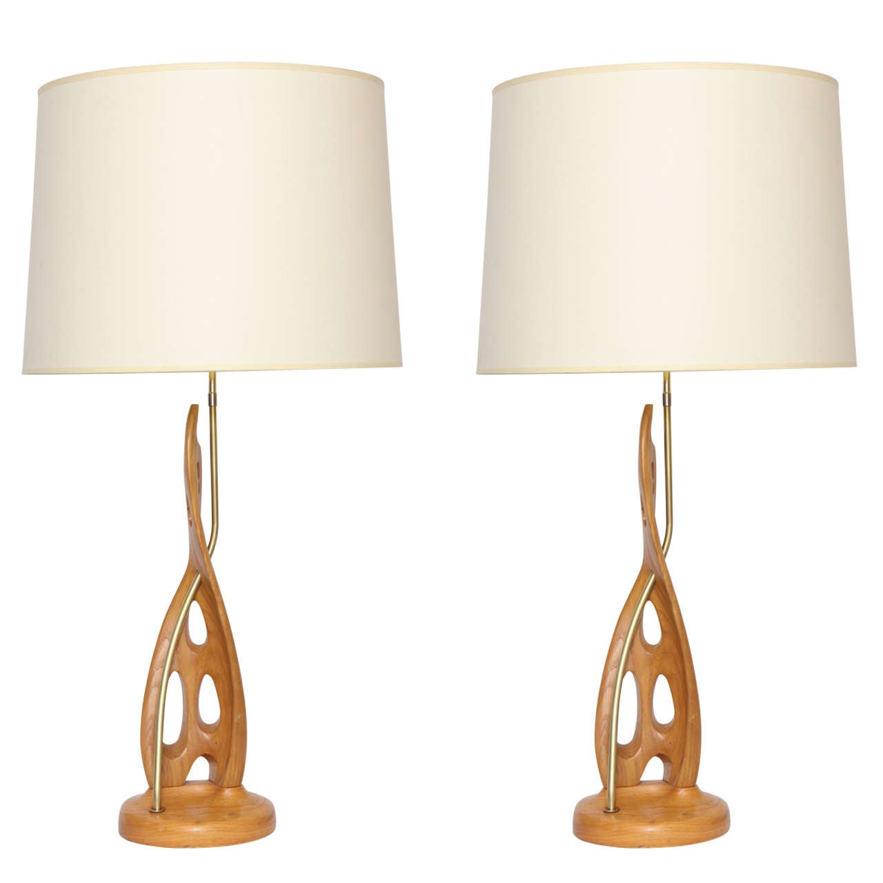 Pair of 1950s Wood and Brass Sculptural Table Lamps
