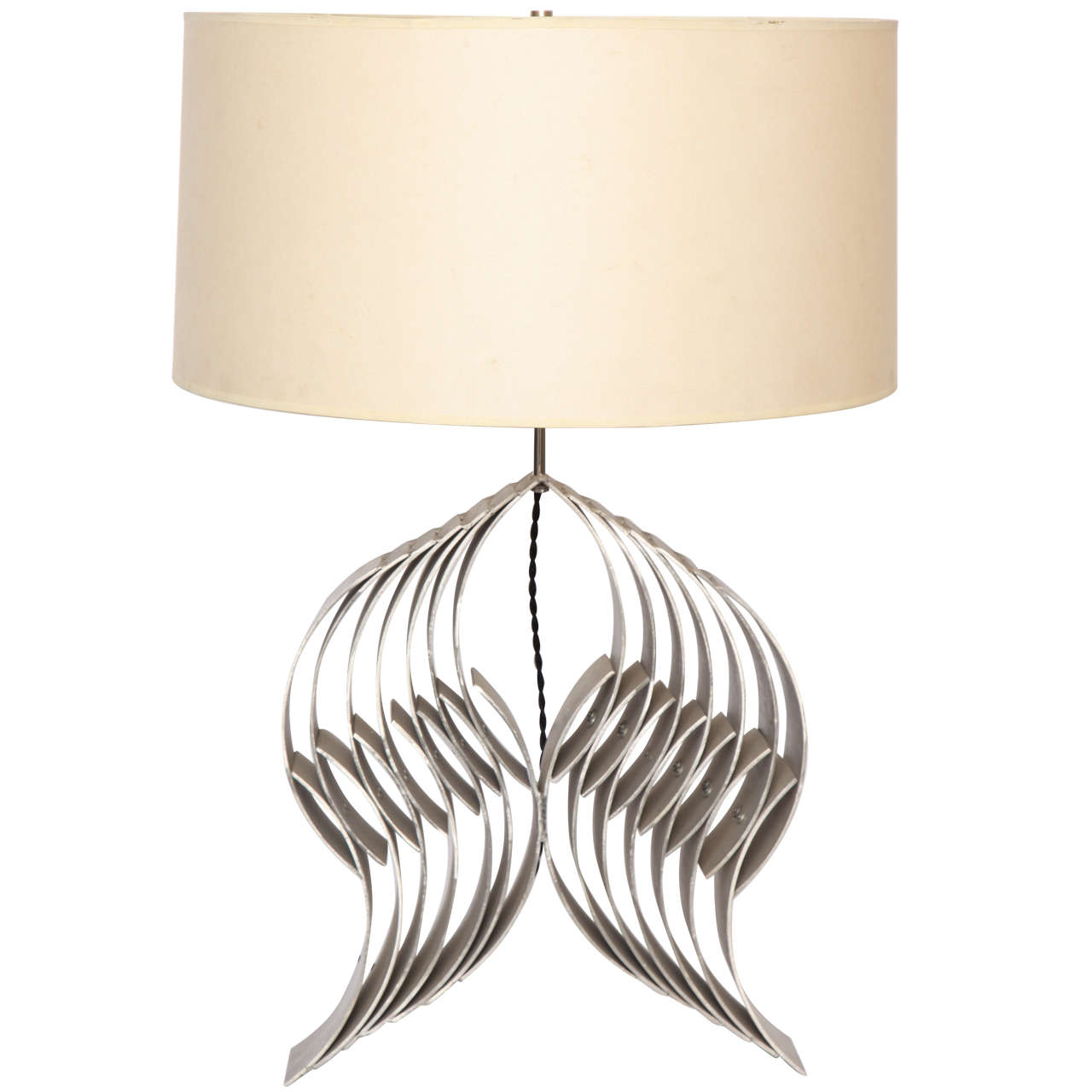 1960s Sculptural Table Lamp Hand Crafted of Aluminium