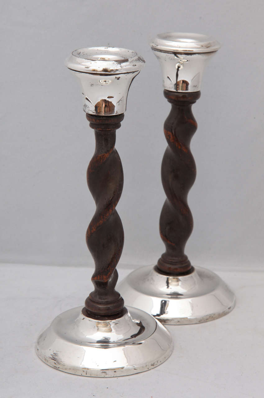 British Art Deco, Jacobean-Style Sterling Silver and Barley Twist Wood Candlesticks For Sale