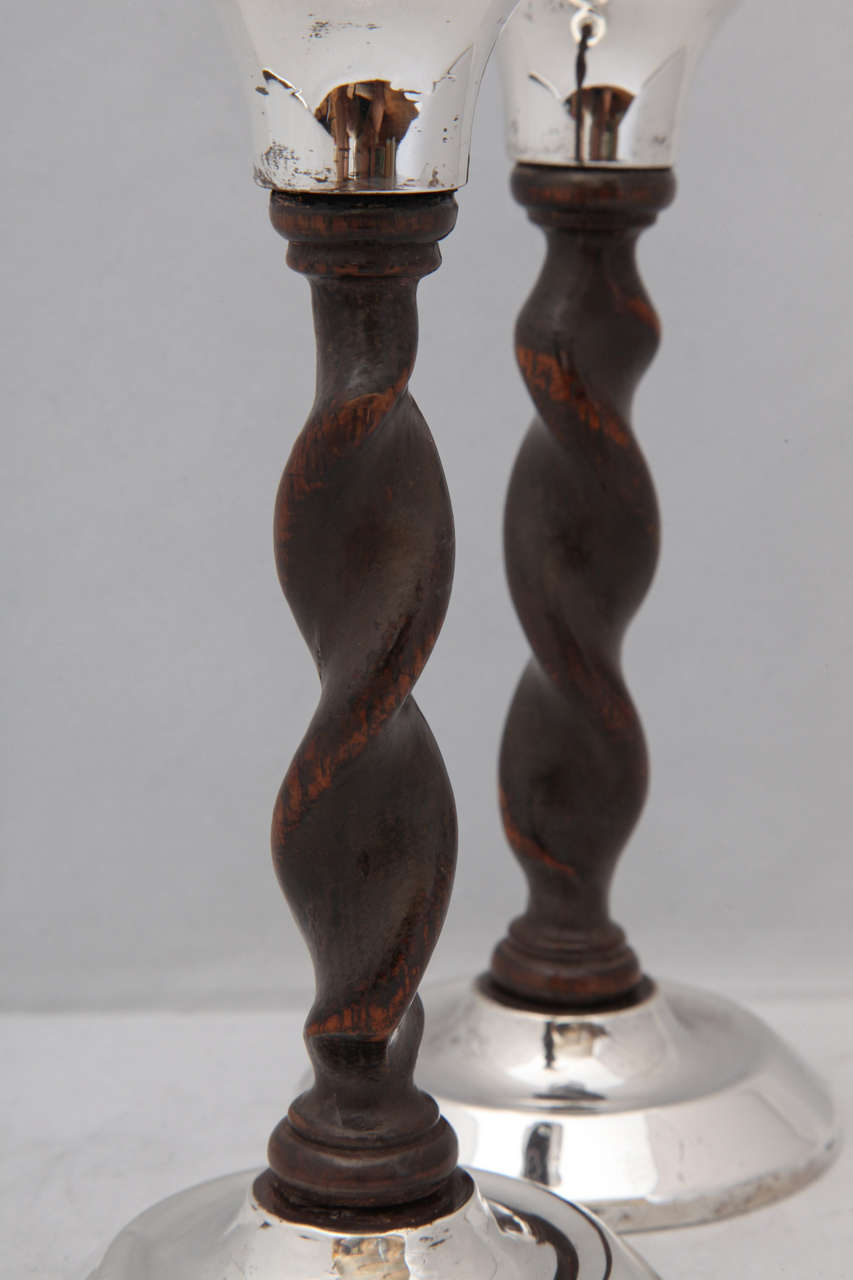 Art Deco, Jacobean-Style Sterling Silver and Barley Twist Wood Candlesticks For Sale 1