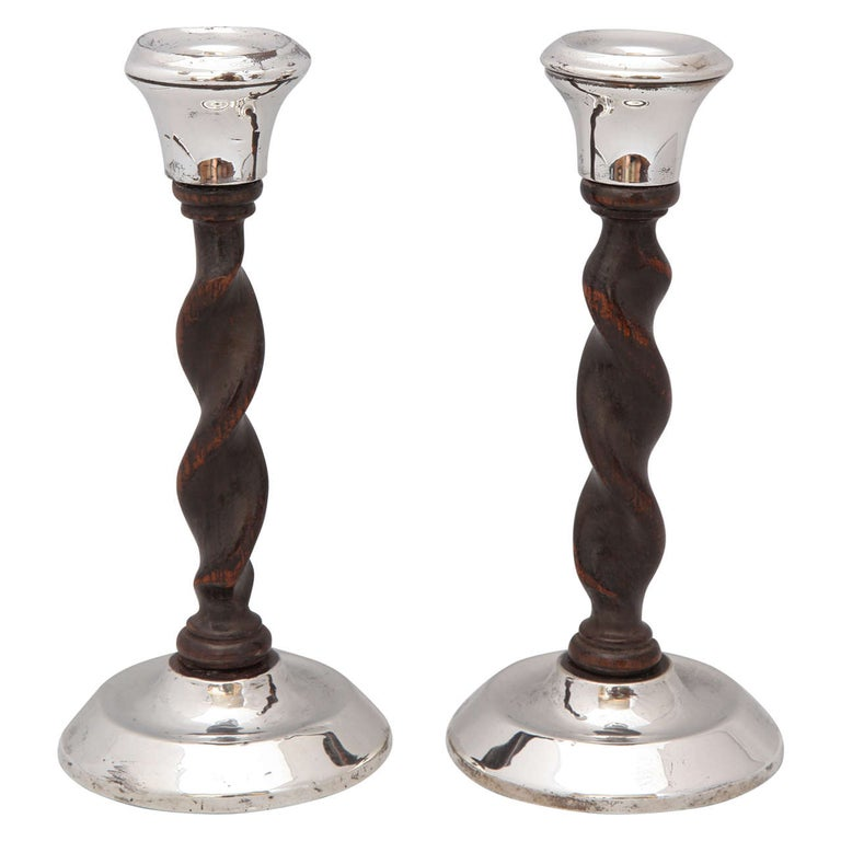 Art Deco, Jacobean-Style Sterling Silver and Barley Twist Wood Candlesticks For Sale