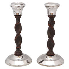 Art Deco, Jacobean-Style Sterling Silver and Barley Twist Wood Candlesticks