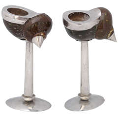 Unusual Edwardian Sterling Silver-Mounted Snail Shell Candlesticks