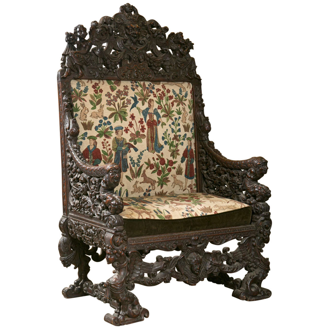 Superbe Antique Oversized Carved Medieval Throne Chair