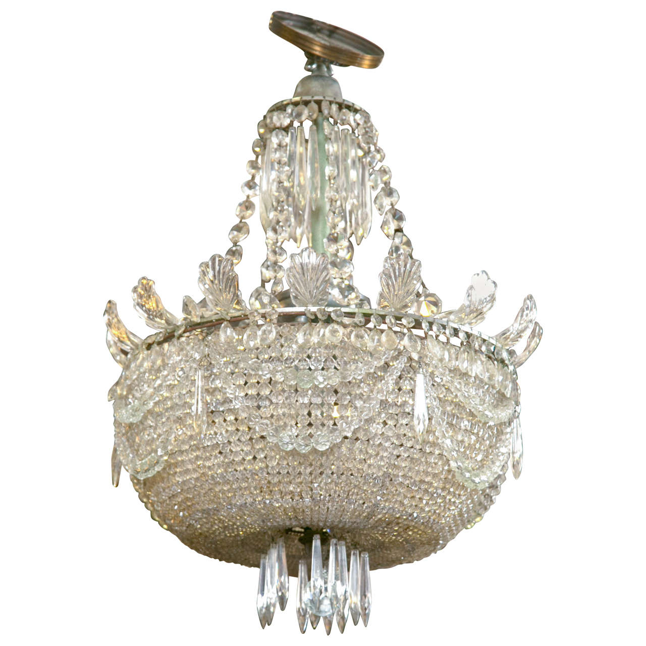 Antique beaded crystal chandelier at 1stdibs - Chandelier glass beads ...