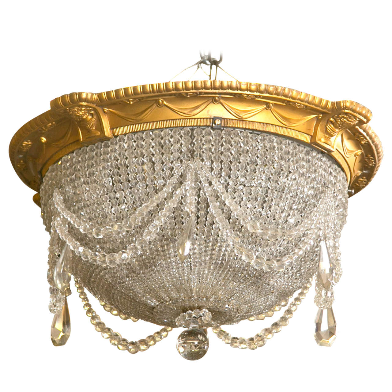 Antique Beaded Dome Crystal Chandelier from Strand Theatre, NYC 1 - Antique Beaded Dome Crystal Chandelier From Strand Theatre, NYC At