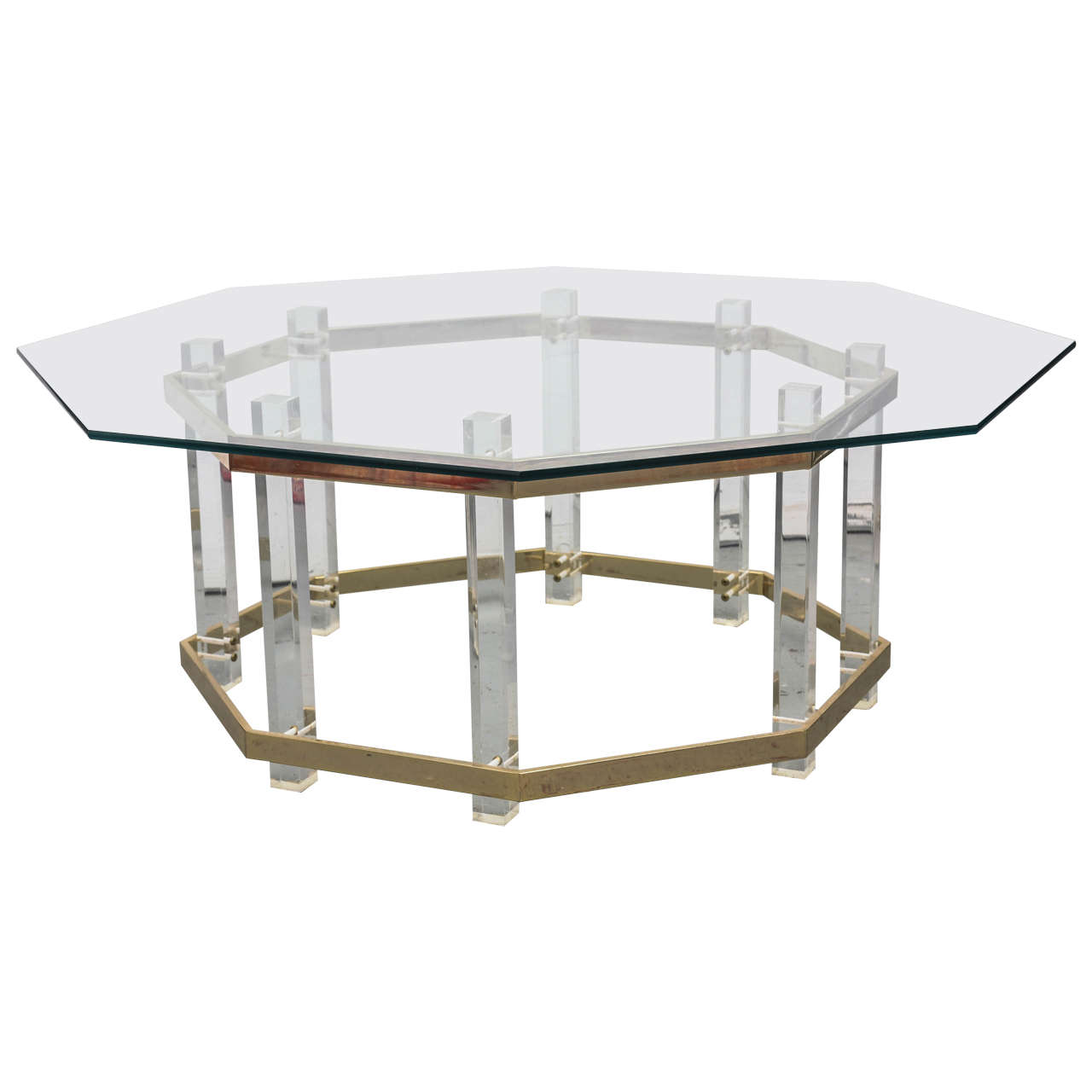 Large lucite brass and glass hollis jones coffee table for Lucite and brass coffee table