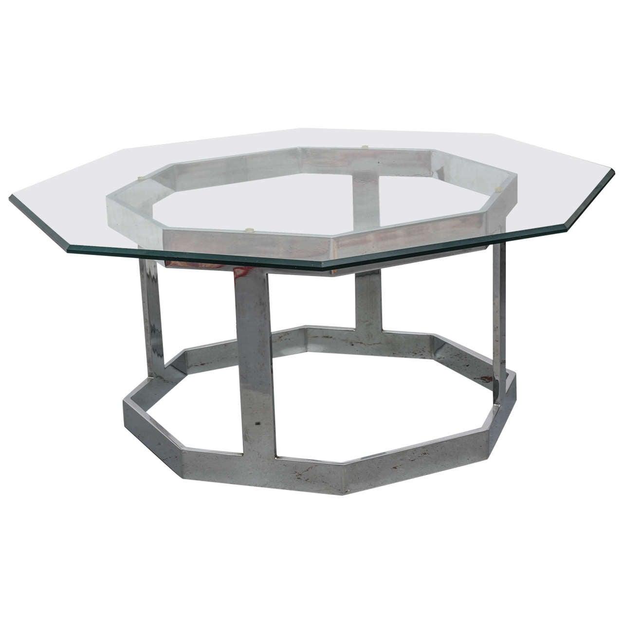 Small octagonal milo baughman chrome and glass coffee for Small glass and chrome coffee table