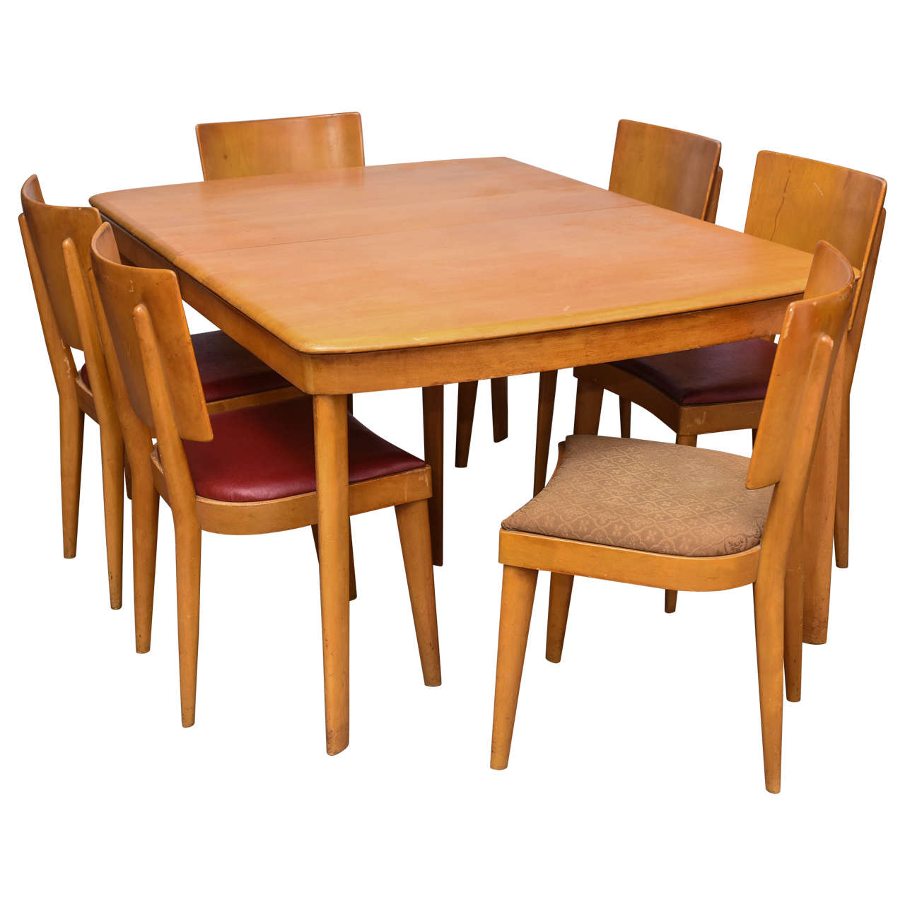 heywood wakefield stingray table with six chairs and two leaves 1960s