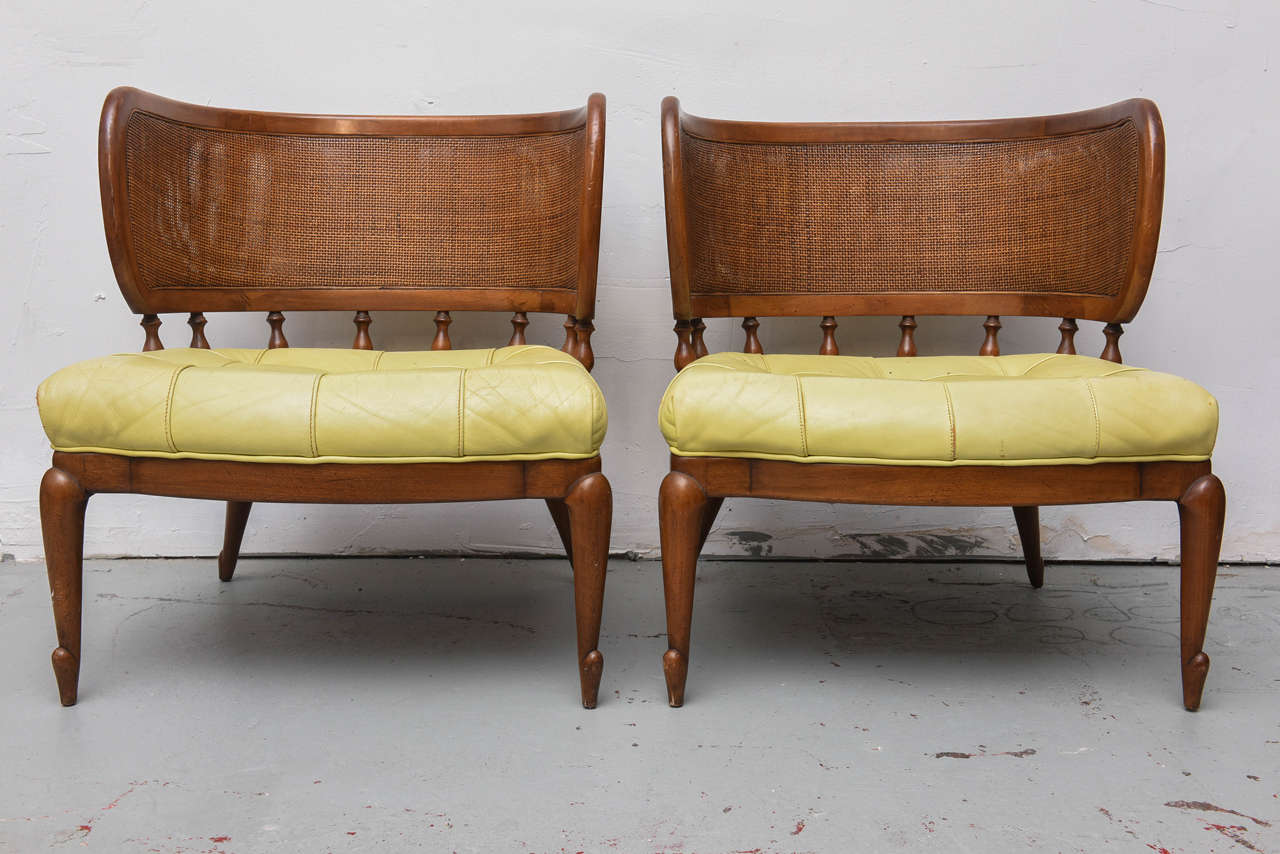 Mid Century Modern Pair Of Gorgeous MCM Caned Back Barrel Chairs, 1950s For  Sale