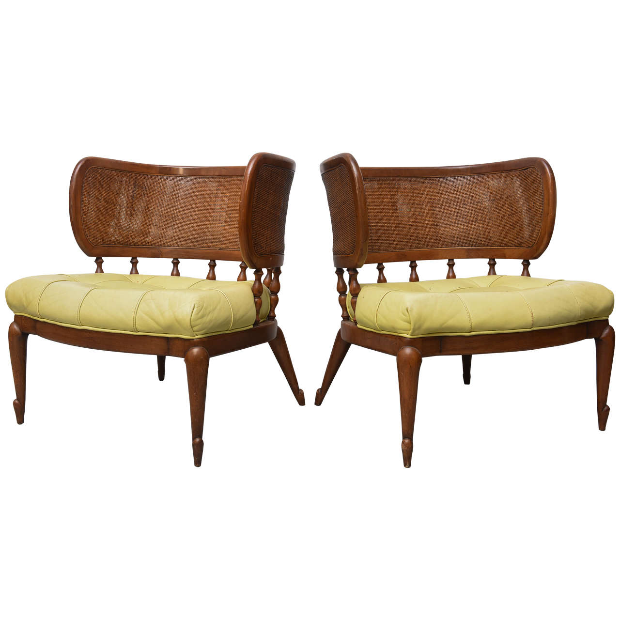 Pair Of Gorgeous Mcm Caned Back Barrel Chairs 1950s For