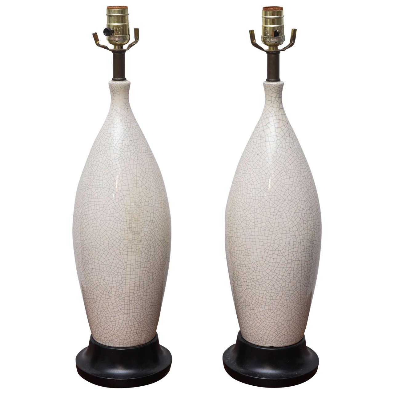 Pair of MCM Crackle Glazed Ceramic Lamps, USA 1960s