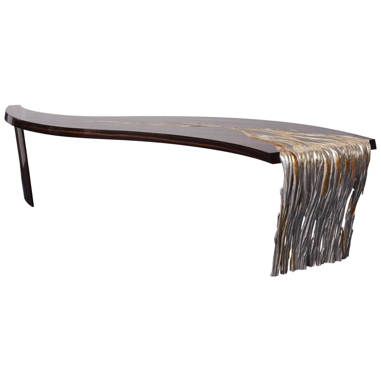 Exceptional Oversized Midcentury Dramatic Macassar Console Table 1