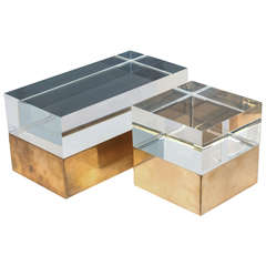 Mies Acrylic Boxes in Vintage Brass