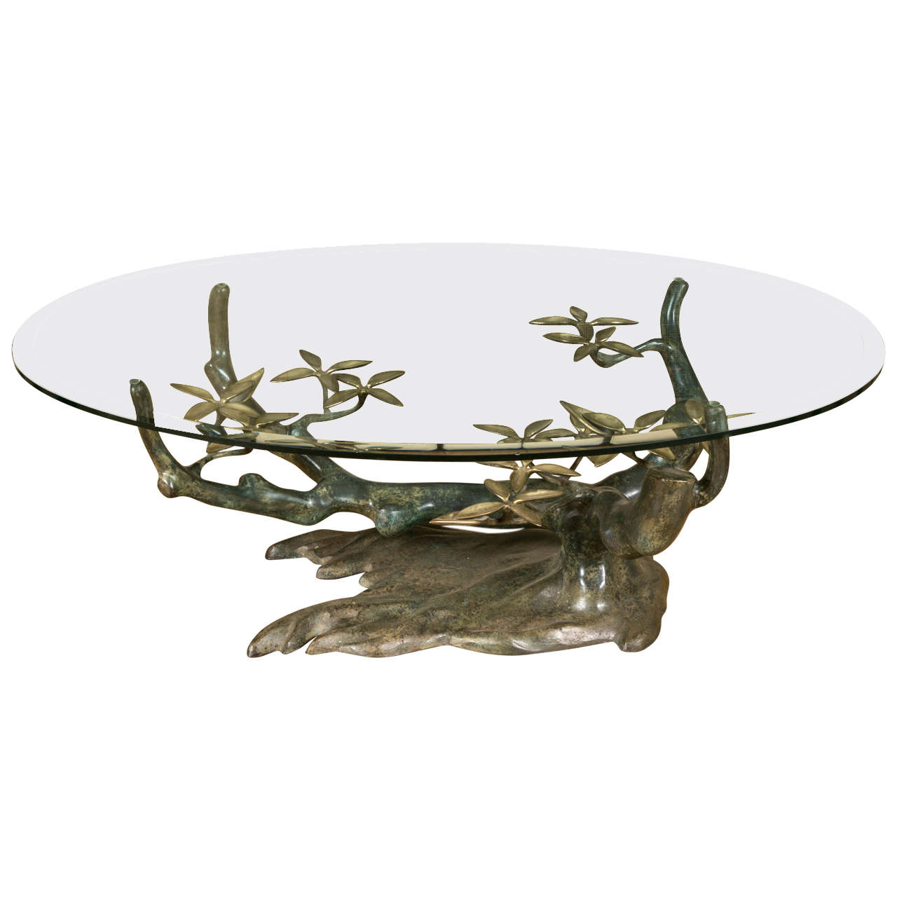 Tree Coffee Table With Green And Gold Patina Created By Willy Daro Circa 1960 At 1stdibs
