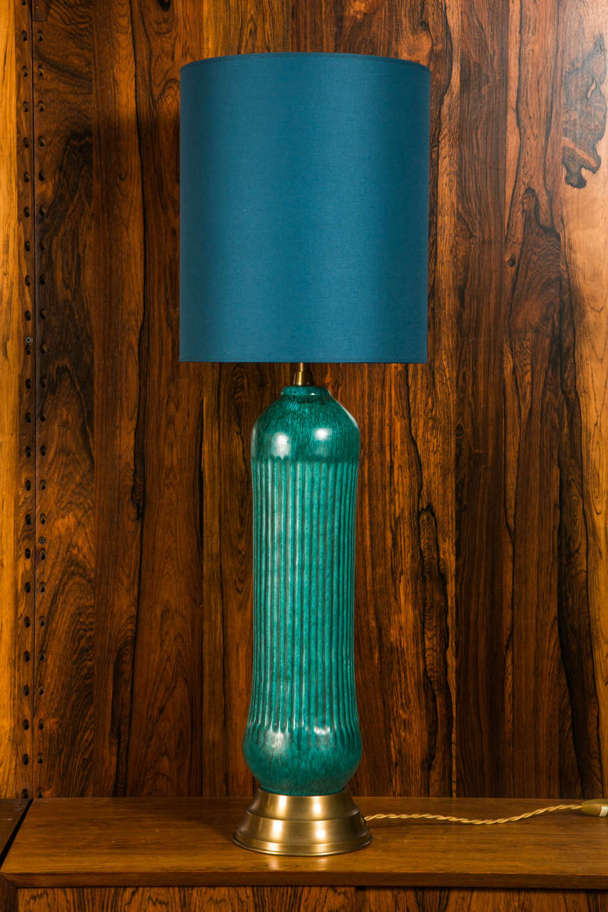tall table lamp in turquoise glazed ceramic by marcello fantoni italy 2 - Tall Table Lamps