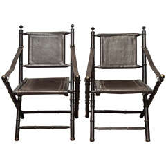 19th Century Leather Folding Chair